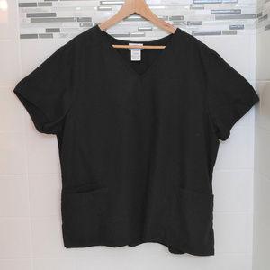 SB Scrubs Top Black with Three Pockets